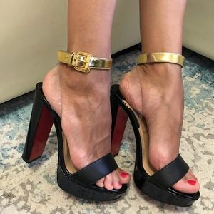Christian Louboutin gold strap sandals